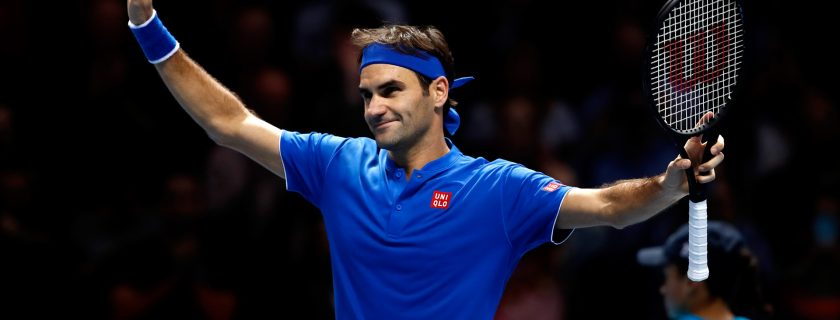 LONDON, ENGLAND - NOVEMBER 13:  Roger Federer of Switzerland celebrates match point during his singles round robin match against Dominic Thiem of Austria during Day Three of the Nitto ATP World Tour Finals at The O2 Arena on November 13, 2018 in London, England.  (Photo by Julian Finney/Getty Images)